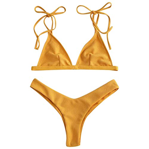 Bikini Set for Women Two Piece Sexy Side Solid Tie Neck Thong Waisted Swimsuit Beachwear Bathing Suit (M, Yellow)