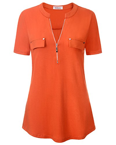 YaYa Bay Ladies Blouses, Sexy Notch Neck Ladies Girls 3/4 Sleeve Henley Tunic Blouses For Working XX Large Orange Red Zip Up Casual Cute Button Down Blouses Tops Tunic 3/4 Sleeve Henley In Red