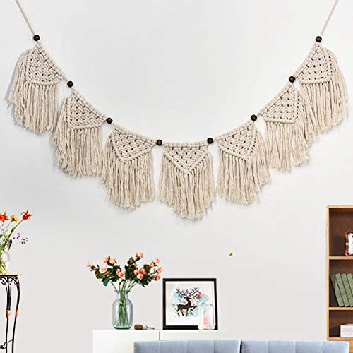 Jeteven Handmade Macrame Banner Woven Macrame Wall Decorations Tapestry Wall Hanging Bohemian Art Home Decoration 42.52x9.06'' by Jeteven