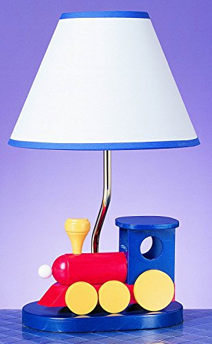 Cal Lighting BO-373 Kids Novelty Lamp with Blue and White Fabric Shades, Multi Color Train in Chrome - Cal Lighting Lamp Table Wood