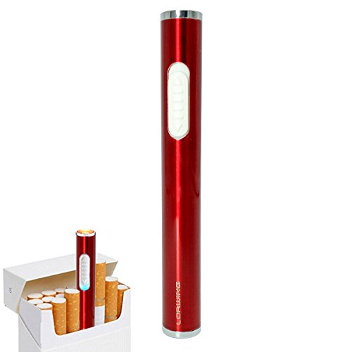 LORWING Mini Electric Lighter USB Rechargeable Windproof Flameless Safety Lighter Portable For Cigarettes With Gift Box (Red)