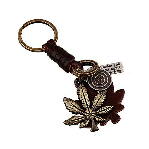 INEBIZ Punk Style Alloy Maple Leaf Retro Woven Cowhide Keychain Pendant Woven Leaf Ring
