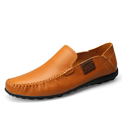 Super Comfort rismart Mens ONS Leather Flats Casual 5 US8 Slip Genuine 9953 Loafer Leather Soft Tan xHWRHT0Cwq
