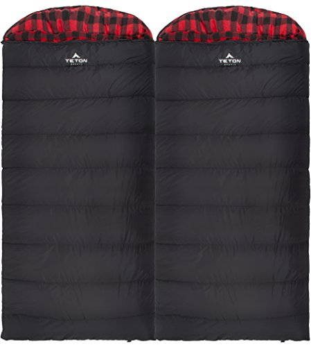 TETON Sports Celsius XXL Sleeping Bag; Great for Family Camping; Free Compression Sack 5 COMFORTABLE SLEEPING BAG FOR ADULTS: Soft lining; Half-circle mummy style hood keeps you warm and your pillow clean; Unzips on each side for airflow and easy access; For camping in 3 seasons NEVER ROLL YOUR SLEEPING BAG AGAIN: TETON provides a great compression sack for stuffing your sleeping bag; Start at the bottom and stuff the bag in, then tighten the heavy-duty straps STAY WARM IN COLD WEATHER: You'll be warm and rested in this sleeping bag; Innovative fiber fill, double-layer construction and draft tubes work together to keep the warmth in