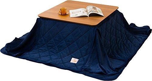 Emoor Microfiber Space Saving Kotatsu Futon Set Comforter Rug Square Type Navy