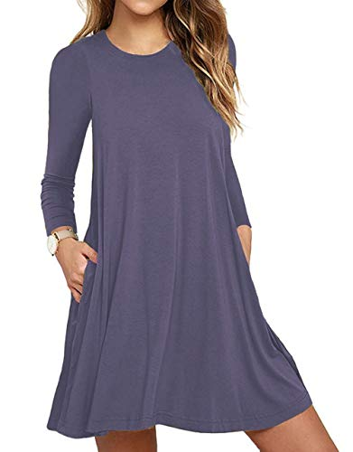 (Women's Long Sleeve Pockets Casual Swing T-shirt Dresses Purple Gray)