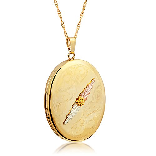 - Scrollwork Large Oval Locket Pendant Necklace, 10k Yellow Gold, 12k Green and Rose Gold Black Hills Gold Motif, 18