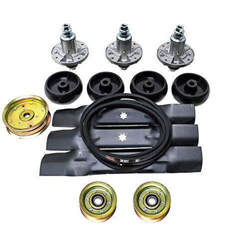 Lawn Mower Deck Rebuild Kit for John Deere D140 Blade Pully Belt Wheel Spindle GY20454 GY20867 GY20962 GY21098 AM137757 AM141035 GX21784 GY20852 GX20571 GX21833 GY20629 GY20110 GY20067 GY22172 ()