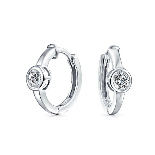 Bezel Plated Set - 6MM Round Solitaire Bezel Set Kpop Huggie Hoop Earrings For Women Men Cubic Zirconia Silver Plated 925 Sterling Silver