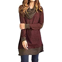 Famulily Women's Cowl Neck Tops Two Tone Color Block Pullovers Elbow Patchs Loose Long Tunic Blouse
