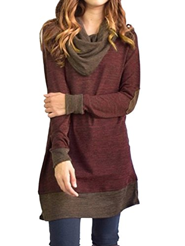 Famulily Women's Cowl Neck Tops Two Tone Color Block Pullovers Elbow Patchs Loose Long Tunic Blouse(L,Wine)