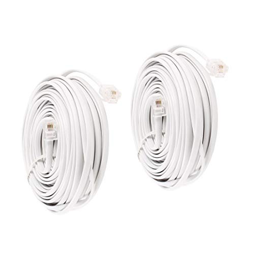 (Uvital 33 Feet Telephone Landline Extension Cord Cable Line Wire with Standard RJ-11 6P4C Plugs(White 10M,2Pack))
