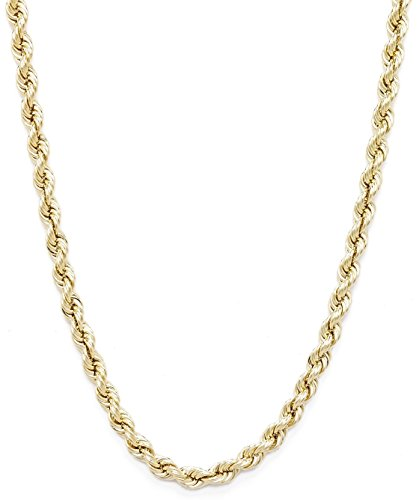 Floreo 10k Yellow Gold Hollow Rope Chain Necklace with Lobster Claw Clasp for Women and Men, 2mm