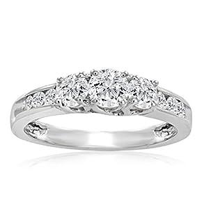IGI Certified 1ct tw Three Stone Plus Diamond Anniversary Ring set in 10K White Gold (Available sizes 5 8)