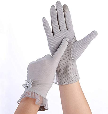 手袋 日常 実用 レディースグローブレーススリップ通気性UVプロテクションフィンガーサンプロテクショングローブ (Color : Gray, Size : L-One pair)