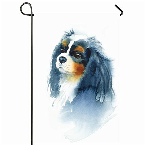 Ahawoso Seasonal Garden Flag 12x18 Inches Cavalier Dog Watercolor King Charles Baby Spaniel Painting Artistic Design Nature Home Decorative Outdoor Double Sided House Yard Sign