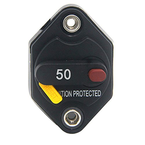 ZOOKOTO 12V-32V DC 50A Circuit Breaker Fuse Inverter with Manual Reset Button for Auto Truck RV Marine Trailer Waterproof 50Amps