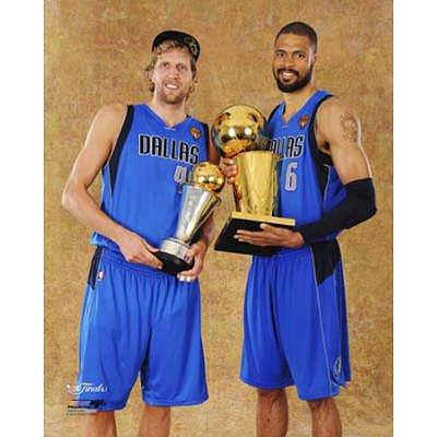 Dallas Mavericks - Tyson Chandler & Dirk Nowitzki with the MVP & Championship Trophies Glossy (Chandler Photograph)