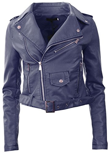 Biker Crop Faux Coat Navy Gracious Zip Leather Womens New Girl GG Ladies Jacket wwPqY8
