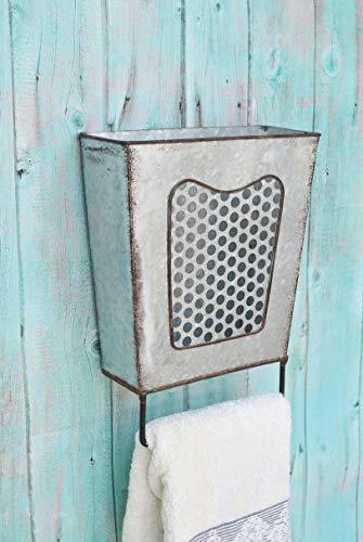 ShabbyDecor Galvanized Metal Rustic Wall Mounted Bathroom Storage Box with Towel Bar, Farmhouse Kitchen Utensil Holder