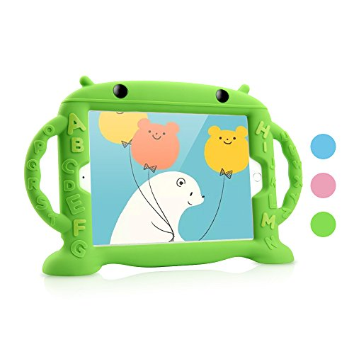 Price comparison product image iPad Air 2 / Air 1 & 2018 / 2017 Case Kids,  Dwopar Soft Silicone Kids Proof Case Carrying Handle Shockproof Waterproof Protective Cover Apple ipad Air1 / 2 New iPad 2018 / 2017 - Green