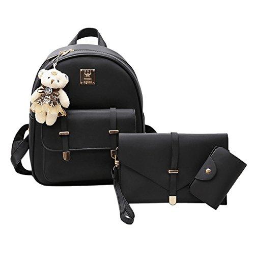 Weilong Teens School Backpack Set PU and Nylon Girls School Bags