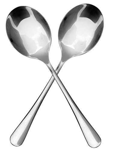 (Stainless Steel X-Large Serving Spoons, Serving Utensil, Buffet & Banquet Style Serving Spoons-(2)
