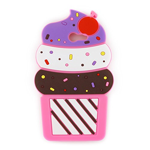 UFOTSAM Galaxy J7 V Case, J7 Perx Case, J7 Sky Pro Case, J7V Case, 3D Cartoon Cute Cherry Cupcakes Ice Cream Shaped Soft Silicone Case Cover for Samsung Galaxy J7 2017 (5.5 Inch) (Hotpink)