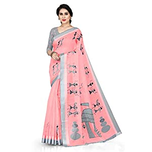 SOURBH Women's Cotton Saree With Blouse Piece