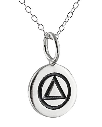 (Sterling Silver Tiny Alcoholics Anonymous AA Sobriety Tag Charm Pendant Necklace, 18 Inch)