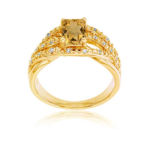 Sterling Silver Yellow 1mm Created White Sapphire & 7x5mm Octagon Citrine Ring