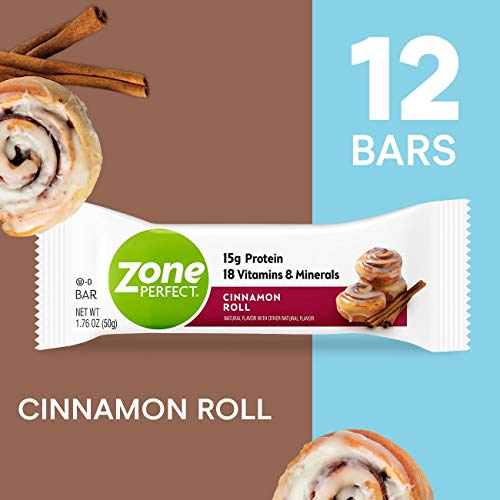 ZonePerfect Protein Bars, Cinnamon Roll, High Protein, With Vitamins & Minerals (12 Count) (Best Store Bought Cinnamon Rolls)