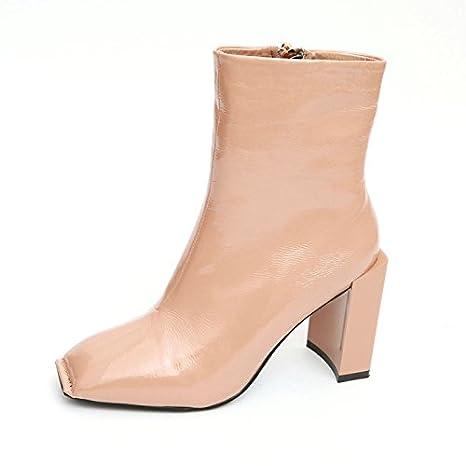 LGK&FA Señora de la Primavera Botines de Espesor con Zapatos de Tacones Cuadrados Retro Zipper Lateral