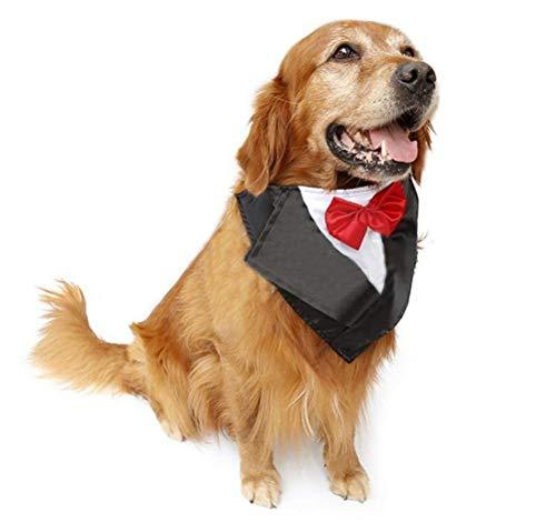LOVEJIE Wedding Tuxedo Triangle Bibs Scarf Accessories - Large Dogs Chow Chow Golden Retriever Furumaki (Color : Red, Size : 57-67Cm) ()