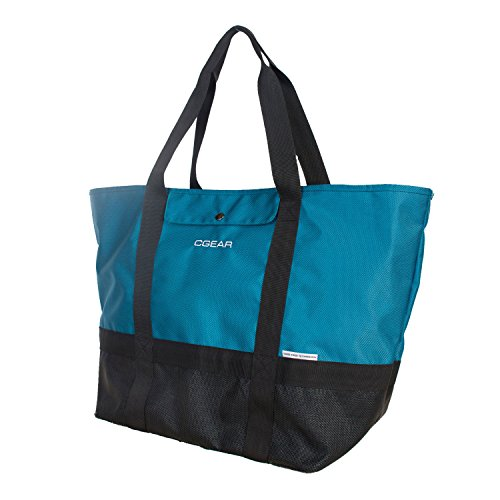CGear Sand Free Tote II - Sand, Dirt, and Dust Free Tote - Perfect Bag For The Beach, Park, or Picnic - A Vacation Necessity! Removes Sand and Dirt Particles (Check Nylon Tote Bag)