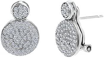 Sterling Silver Cubic Zirconia Double Pave Circle Omega Earring