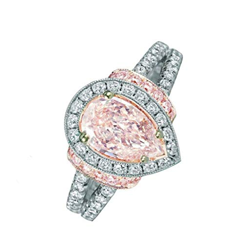 Lethez Women Diamonds Bride Princess Wedding Engagement Strange Ring Jewelery (Pink, 10)