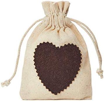 10 saquitos de algodón con corazón de fieltro y cordón de algodón, bolsa de regalo para el día de San Valentín, día de la madre, Pascua: Amazon.es: Juguetes y juegos