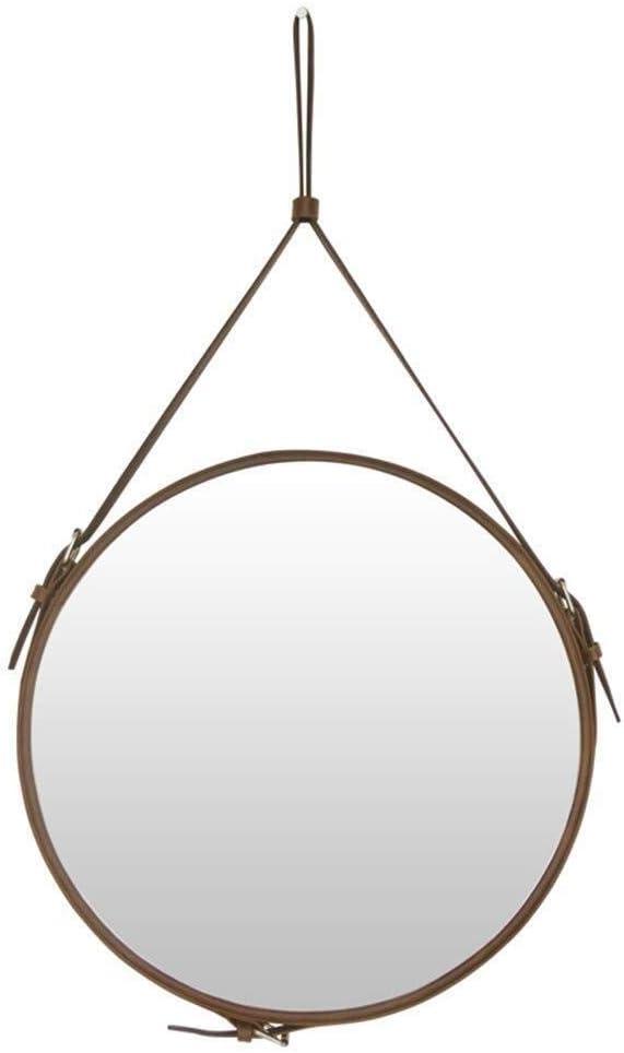 LXD Espejos, Espejo de Vanidad Espejo Decorativo Creativo, Espejo de Cuero Artificial Redondo Espejo de Pared de Pared Dormitorio Decoración Del Hogar Decoración Marrón Múltiples Estilos,50 * 50Cm