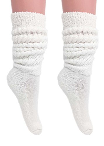 Slouch Socks Women and Men Extra Tall Heavy Cotton Socks Made in USA Size 9 to 11 (White, -