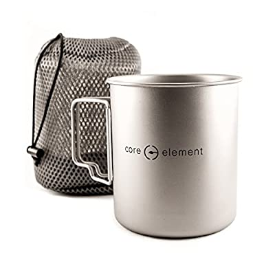 Core Element 100% Titanium 750 ml Outdoor Ultralight Portable Cooking Pot/Mug Open Campfire Cookware for Camping and Backpacking