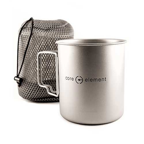Core Element 100% Titanium 750 ml Outdoor Ultralight Pot Mug used as Cookware for Camping and Backpacking by Core Element