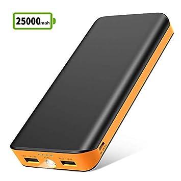 Bateria Externa para Movil, Power Bank 25000mAh, Cargador Portátil de Ultra Alta Capacidad con 2 Salidas USB, 1 Linterna y 4 Indicadores LED para ...
