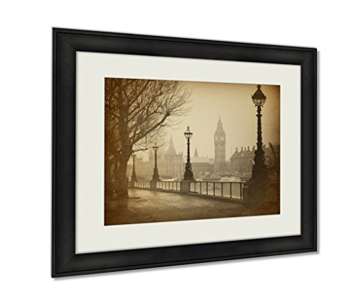 Ashley Framed Prints Vintage Retro Picture Of Big Ben Houses Of Parliament In London Wall Art Decor Giclee Photo Print In Black Wood Frame, Soft White Matte, Ready to hang - London Frames Vintage