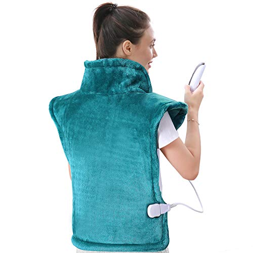 "MaxKare Large Heating Pad for Back and Shoulder Pain, 24""x33"" Heat Wrap with Fast-Heating and 5 Heat Settings for Sport Sorness and Cramps Relief, Auto Shut Off Available-Lake Green"