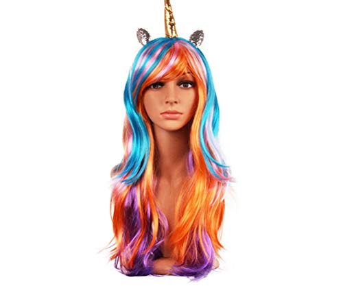 (Synthetic Wigs Unicorn Horn Rainbow Colorful Hair Piece for Anime Cosplay Costume Party)