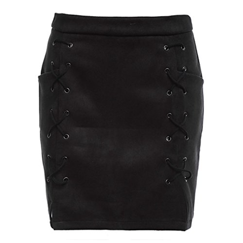[LeNG Women Leather Suede Pencil Black Mini Skirt 2017 Spring Autumn High Waist Short Lace Up Skirts Sexy Split Skirts BLACK M] (H And M Flapper Dress)