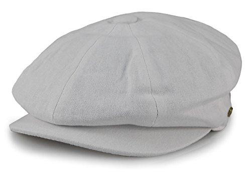 Sox Market Men's Cotton Applejack Patchwork Snap Brim Newsboy Cap (Large, White) - Apple Cotton Cap