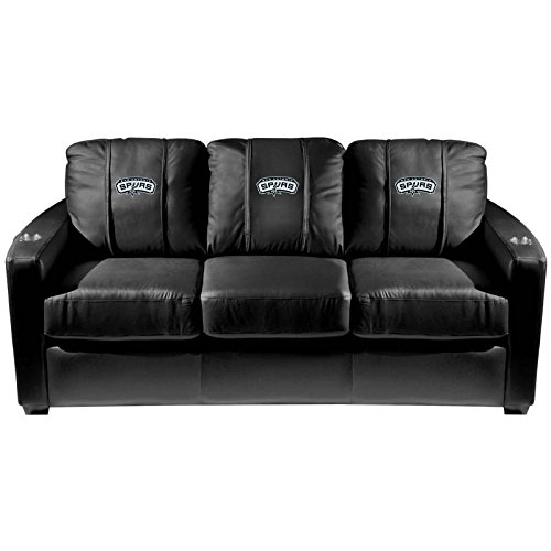 XZipit NBA Silver Sofa with San Antonio Spurs Logo Panel, Black