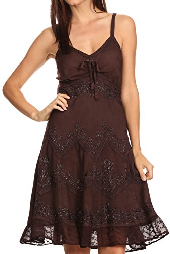 Sakkas 151304 - Lacey Stonewashed Embroidered Silver Threaded Spaghetti Strap Dress - Chocolate - S/M